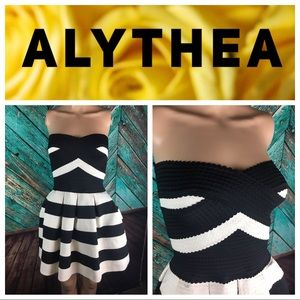 Alythea Striped Knit Ribbon Dress
